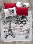 Kırmızı Beyaz Eiffel Figürlü Nevresim