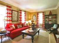 Kırmızı Koltuk ve Perdeli Dekorasyon Fikri