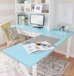 Açık Turkuaz Pastel Renklerle Ofis Dekorasyonu
