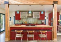 Ahşap Detaylı Kırmızı Amerikan Mutfak