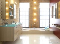 Işıklı Krem Rengi Banyo Modelleri