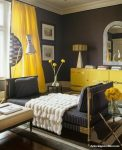 Koyu Gri Duvarlar İçin Sarı Perde Modelleri