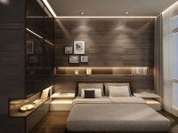 Loş Işıklı Modern Yatak Odası Mobilyaları