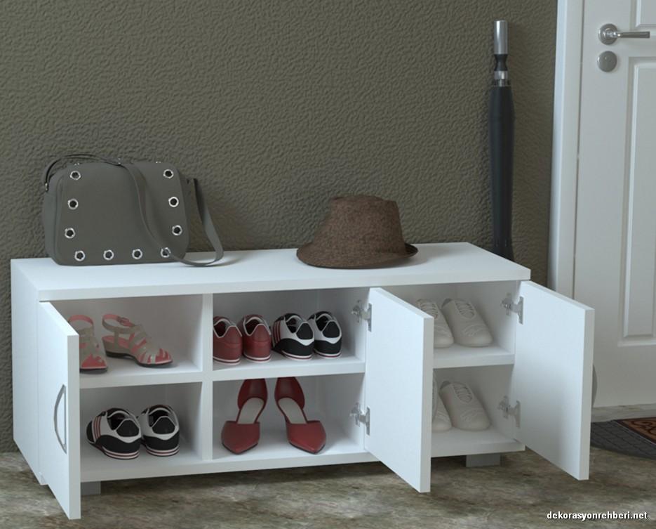 Sanal Mobilya Happy Beyaz Ayakkabılık Modelleri