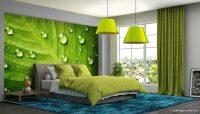 Yeşil 3D Su Damlacıklı Yaprak Duvar Kağıdı