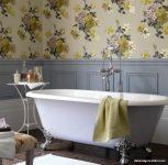 Banyo İçin Çiçekli Duvar Kağıdı