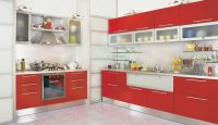 Canlı Görünümlü Kırmızı Mutfak Dolabı