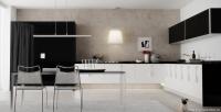 Geniş ve Büyük Siyah Beyaz Renk Mutfak