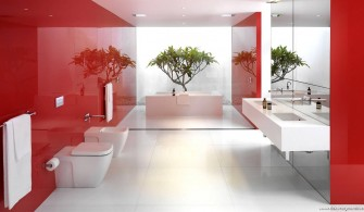 Kırmızı Beyaz Banyo