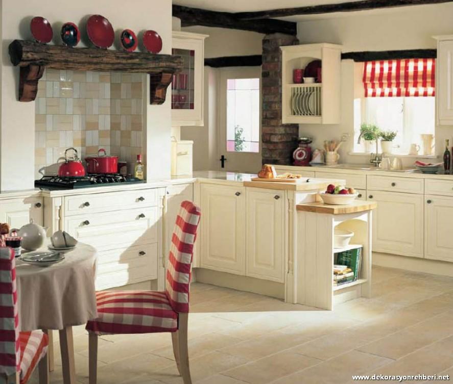 Kırmızı Beyaz Mutfak Dekorasyonu Fikri