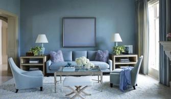 Mavi Tonlu Salon Dekorasyonu