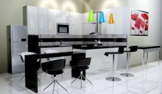 Sade Tasarımlı Siyah Beyaz Mutfak Modelleri