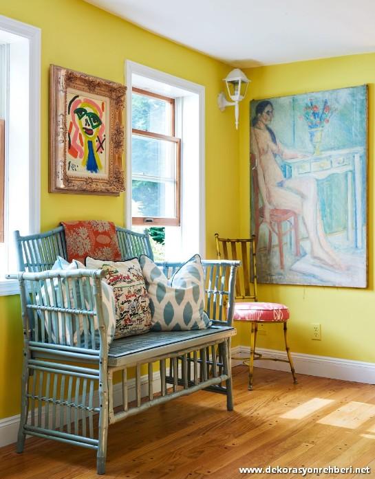 Sarı Duvar Rengi Oturma Odası