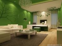 Yeşil Gri Renk Salon Dekorasyonu