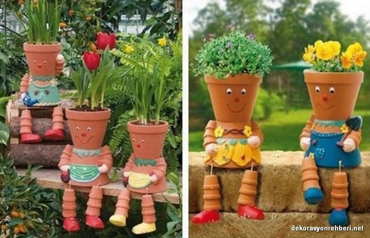 Çiçek Adamlı İlginç Bahçe Dekoru