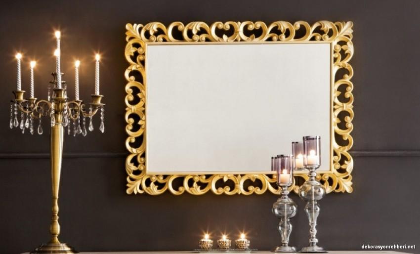 Altın Sarısı Salon Ayna Modeli