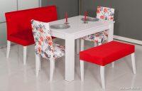 Koçtaş Kırmızı Beyaz Yemek Masası Modelleri