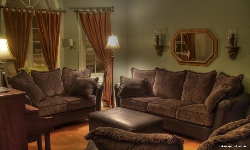 Oturma Odaları İçin Kahve Koltuk ve Perdeler