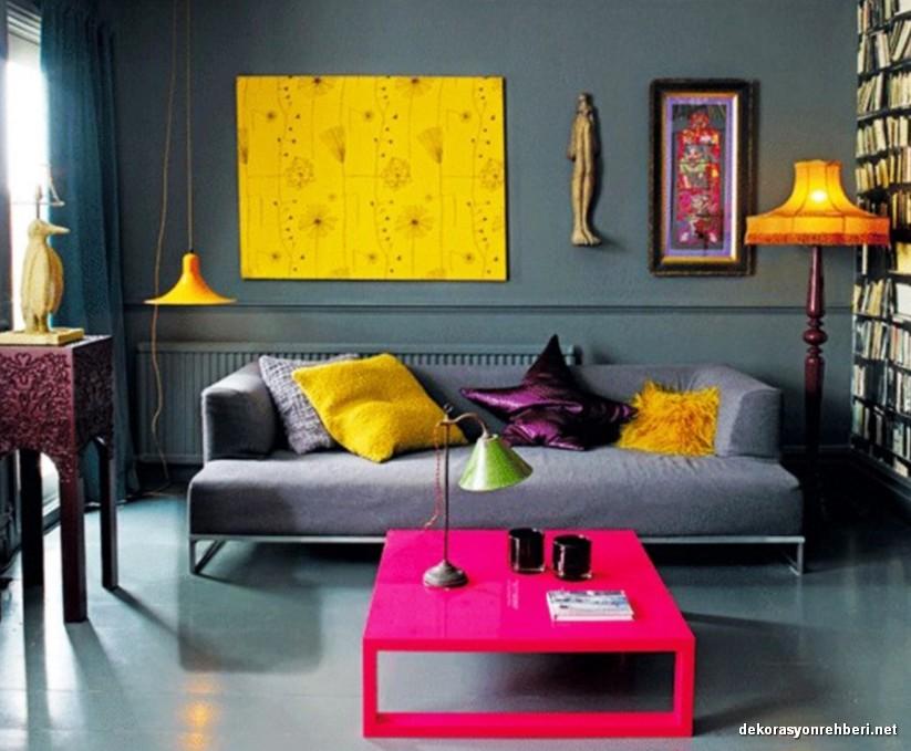 Sarı ve Pembe Tonlarda Ev Dekorasyonu