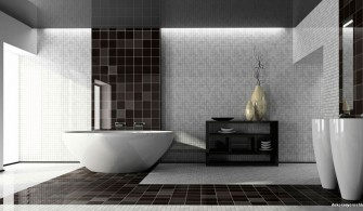 Siyah Beyaz Geniş Banyo Dekorasyonu