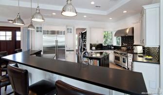 Siyah Beyaz Modern Granit Amerikan Mutfak