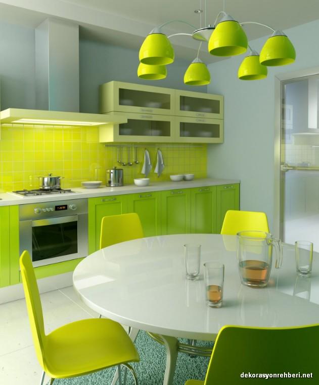 Yeşil Sarı İç Ferahlatıcı Mutfak Örnekleri