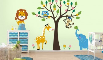 Çocuk Odası Hayvan Figürlü Duvar Kağıtları