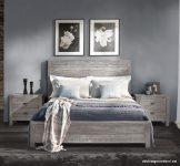 Gri Tonlarda Rustik Yatak Odası