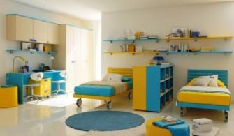 Sarı Mavi İki Kişilik Çocuk Odası Dekoru