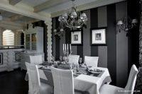 Siyah Gri Tonlarda Yemek Odaları