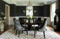 Yuvarlak Masalı Siyah Yemek Odası