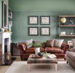 Yeşil Duvar Kağıdı Geleneksel Salon Fikirleri