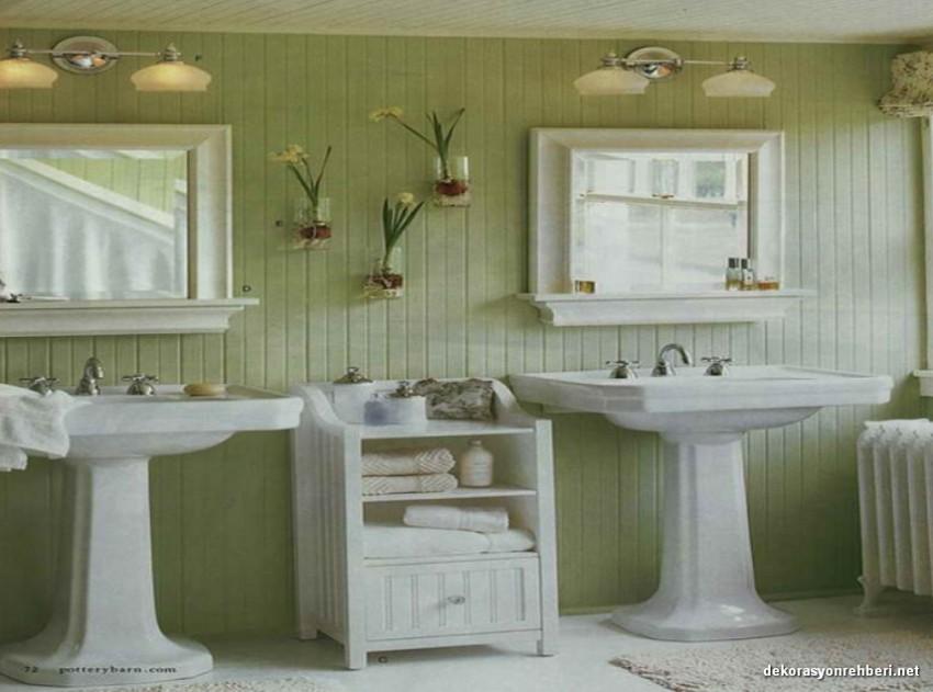 Yeşil Temalı Country Banyo