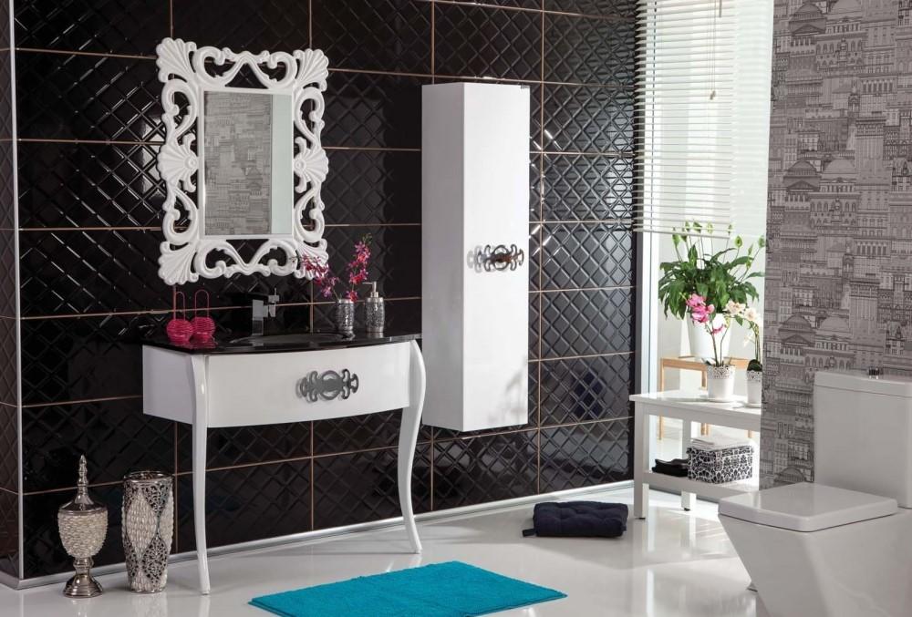 Siyah beyaz banyo dolabı